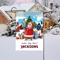 Santa Stop Here Custom Christmas Garden Flag
