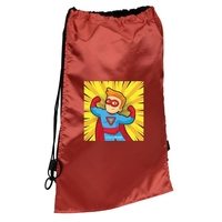 Super Hero Sport & Flag Draw String Back Pack With Cape
