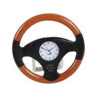 Desktop wooden steering wheel clock