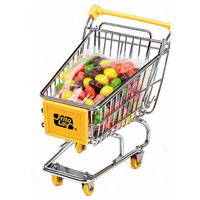 Mini shopping cart filled with Skittles