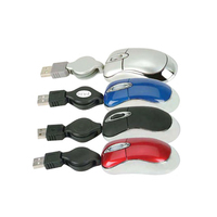 3D mini optical USB mouse w/retractable cord
