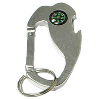 Jumbo size 4 in 1 carabineer with compass and bottle opener