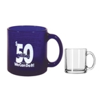 13 Oz. Blue Glass C-Handle Mug (Screen Printed)