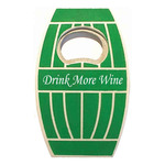 Jumbo size oak barrel shape magnetic bottle opener