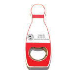 Jumbo size bowling pin shape magnetic bottle opener