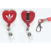 Heart shape retractable badge holder with lanyard