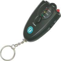 Alcohol detector on keychain with bright LED light