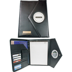 Leather look business portfolio with built-in calculator