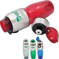 Sports plastic bottle with stainless steel trim - 28 oz - PC