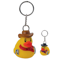 Rubber rodeo duck keychain