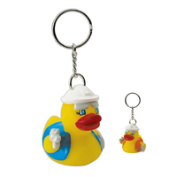 Construction rubber duck key chain
