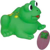 Squirting rubber frog toy