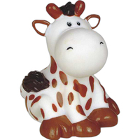 Squeaking rubber cow toy