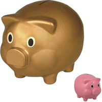 Plastic pig coin bank