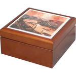 Wooden box with tile top
