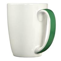 White with green ribbon handle mug