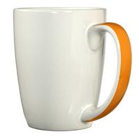 White with orange ribbon handle mug