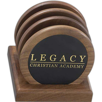 Stand with 4 round wood coasters w/ leather inserts