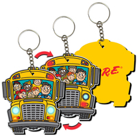 "3"" Key Tag / Key Chain with School Bus Shape"