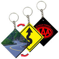 Key Tag / Key Chain with Road Sign Zig-Zag Design