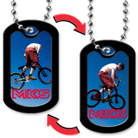 Dog Tag with Mountain Cyclist Design