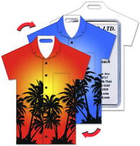 Luggage Tag with Palm Tree Design, T-Shirt Shaped
