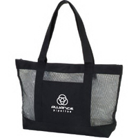 Mesh Zipper Boat Tote Bag