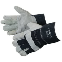 Split Cowhide Work Gloves with Denim Cuff and Palm Patch