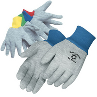 Kidss gray jersey gloves with assorted color wrist