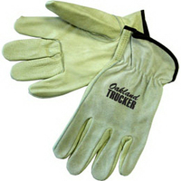 Driver gloves with grain palm / smoke split leather back