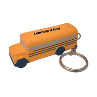 School Bus Shaped Stress Reliever Key Tag