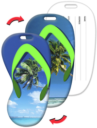 Luggage Tag with Palm Tree Design, Flip-Flop Shape