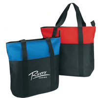 Two-Tone Poly Zippered Tote