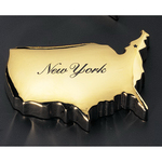 Gold USA map paperweight