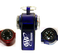Whistle with compass thermometer key chain