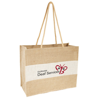 White and natural jute shopper bag with long handles