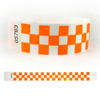 "Tyvek® 1"" Design Orange Checks Wristband"