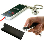 Flat laser card pointer with dual LED flashlight, keychain