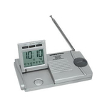 Slim traveler AM/FM radio/alarm clock/flashlight
