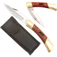 Large rosewood and brass knife with locking blade