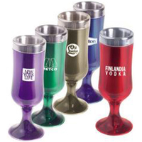 "1 1/2 oz acrylic/stainless steel ""Tulip"" shot glass"
