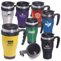 """Stainless steel """"Large-Grip"""" mug with closure top"""