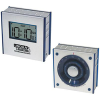 Dual-panel FM clock radio with large LCD screen