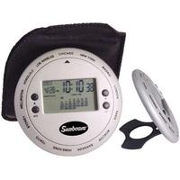 Cast aluminum world time disc clock/calendar with alarm