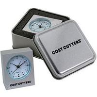 Cast aluminum mini desk alarm clock