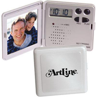 Mini recording/talking photo frame with clock