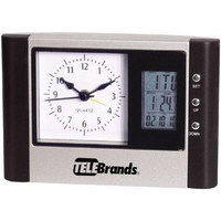 Desk clock with analog and digital display and thermometer