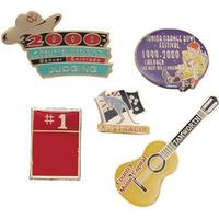 Photo-etched soft enamel lapel pins