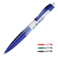 Frosted White Polymer Ballpoint Pen w/ Plunge Action