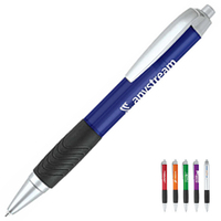 Polymer Ballpoint Pen w/ Silver Trim & Black Comfort Grip